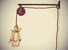 Vintage Industrial Pulley Sconce - Wall Mount Cage Lamp, Pendant - Machine Age