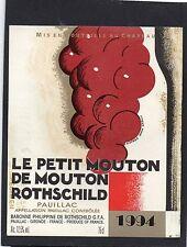 PAUILLAC ETIQUETTE LE PETIT DE MOUTON ROTHSCHILD 1994 DECOREE CARLU §10/12/16§