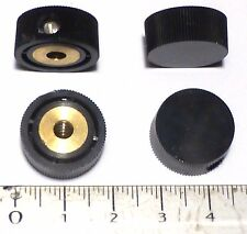 Lot 4 mini-boutons ronds noirs laiton plastique axe 4 mm NOS