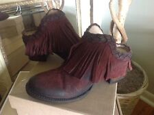 Freebird by Steven Lucy Women's Wine Distressed Suede Mule/Clog/Bootie 7M $195