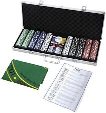 New 500 Chips Poker Dice Chip Set Texas Hold'em Cards W/ Silver Aluminum Case