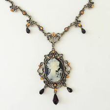 New Vintage Style Cameo Heart Floral Oval Crystals Charm Chain Necklace NE1462
