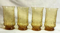 Vintage Anchor Hocking Rain Flower Daisy Amber Glass Set of 4 Beverage Tumblers