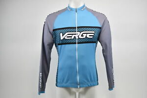 Brand New Verge Women's Classic Club L/S Thermal Cycling Jersey, Blue/Grey, 2XL
