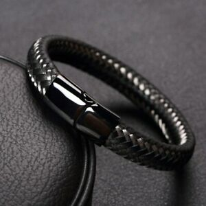 Mens Black Leather Stainless Steel Bracelet Wristband Jewellery Magnetic Clasp