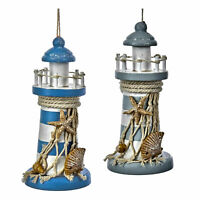 Set/2 Kurt Adler Wooden Lighthouse Beach Ocean Christmas Tree Ornament Decor