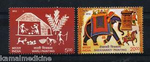 India 2012 MNH 2v, Elephants, Shekhawati, Warli Traditional Painting