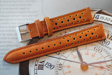 20mm European Hand-Made Rally Racing Quality Leather Watch Strap Tan Brown Band