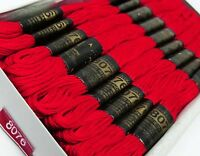 25 Pcs Cotton Red Thread Needlepoint Sewing Stitch Cross Embroidery Floss Skein