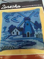 Zapreska Vintage Yarn Cross Stitch Kit Holland Windmill Blue Pillow Cover