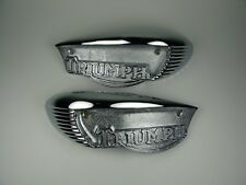 TRIUMPH TANK CHROME BADGE SET BONNEVILLE TR6 T120 T100 EYEBROW 82-6887,82-6888