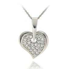 925 Silver CZ Double Dangling Hearts Necklace, 18""