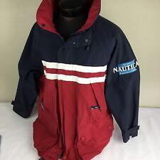 Vintage NAUTICA NAVIGATION Jacket Hooded Sailing Coat Colorblock J-Class S 90's