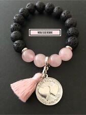 Aromatherapy diffuser Bracelet Lava Stones Rose Quartz Pink Tassel I Am Yours