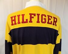Tommy Hilfiger Men's Long Sleeve Polo Rugby Shirt Blue Yellow Size XL Spell Out