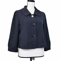 Ann Taylor Mod Cropped Jacket Size 4 NWT Button Front Collared Navy Luxury Knit
