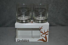 Pair Of (2) Glenfiddich Heavy Base Glasses Tumblers Whisky Glass Tumbler Box Two