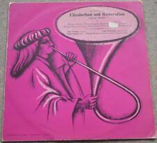 An Anthology of ELIZABETHAN AND RESTORATION VOCAL MUSIC LP vinyl 1964