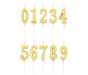 Golden Number 0-9 Happy Birthday Cake Candles Topper Decoration Party Supplies