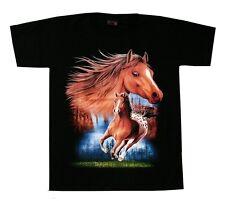 Pferde T-Shirt: Pferd im Galopp, Gr.2XL, Mustang Western Indianer Reiter,Cowboy