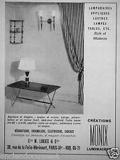 PUBLICITÉ 1957 CRÉATIONS MONIX LUMINAIRES LAMPADAIRES APPLIQUES LUSTRES LAMPES