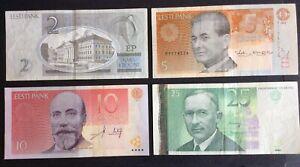 **** Estonia Four Banknotes - 2, 5, 10 & 25 Krooni ****