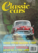 Classic Cars 11/1992 featuring Aston Martin, Ford, Riley, Vauxhall, Morris
