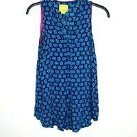 Maeve Anthropologie Blue V-Neck Rayon Sleeveless Button Down Shirt Dress Sz 0