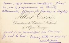 Albert CARRÉ (1852-1938) comédien théâtre musique 2 cartes autographes signées
