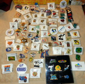 Vintage Kiwanis Pins Buttons Lapel Collector Pins 100 Pin Mixed Lot 2 1/2 Pounds