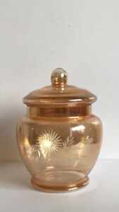 Vintage Gold Iridescent Glass Lidded Candy Jar With Etched Foliage Design