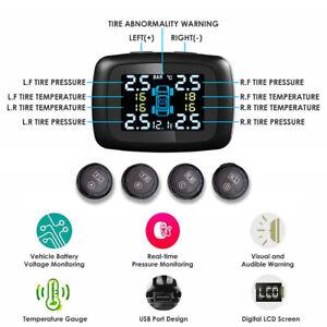LCD Car TPMS Smart Tire Pressure Detector Monitor System W/ 4 External Sensor