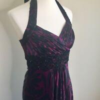 DONNA RICCO Womens Sz 6 Beaded Maroon Silk Halter Maxi Dress Party Wedding Event