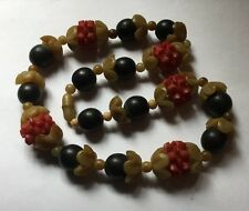 Vintage Early Plastic Celluloid Galalith Fruit Salad Flowers Berries Necklace