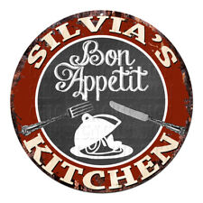 CPBK-0459 SILVIA'S KITCHEN Bon Appetit Chic Tin Sign Decor Gift Ideas
