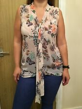Wallis See Through Floral Blouse Top - Size Small