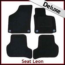 Seat Leon Mk2 2009-2013 31cm 4-round pegs Tailored LUXURY 1300g Car Mats BLACK