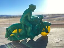 Vintage Green Auburn Rubber Motorcycle Police Toy A520, 1950's Era