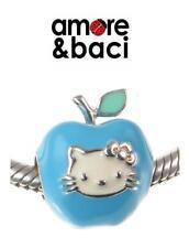NUOVO CON SCATOLA ORIGINALE AMORE & BACI ARGENTO STERLING 925 Blu Hello Kitty Apple Charm Bead