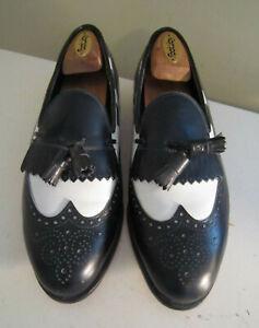 Vintage Footjoy Classics Black & White Leather Tassel Kiltie Loafer Shoes 8 1/2E