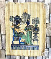 "Authentic King Tut & His Wife Hand Painted Papyrus Pharaoh Ancient 12"" x 16"""