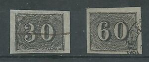 Brazil 1850 20-30r black imperf SG18/19 fine used. 4 margins. (2092)