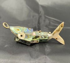 Vintage Articulated Fish Bottle Opener Abalone Mother of Pearl Hand Made