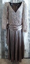 VTG Silver Satin Lace Embroidered Evening Gown Dress Pleated Metallic Large