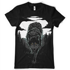 Wilderness Lobo Animal Luna Bosque Camiseta Tee