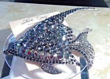 Signed Kirk's Folly Angel Fish Crystal AB Pin Brooch Silver tone - Rare
