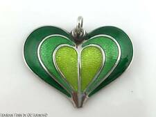 Vintage DAVID ANDERSEN 925S SILVER ENAMEL Heart Pendant for Necklace Norway