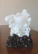 Well  Hand  Carved  Chinese  White  Jade  Vase  On  Stand