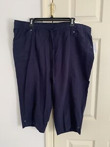 Croft & Barrow Capri Linen Pants Nwt Sz 1X Stretch Woman Mid Rise Mid Calf