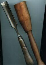 Antique D. M. Co. (Douglas Mfg. Co.) Wood Chisel, + 6 OZ WOOD MALLET HAMMER